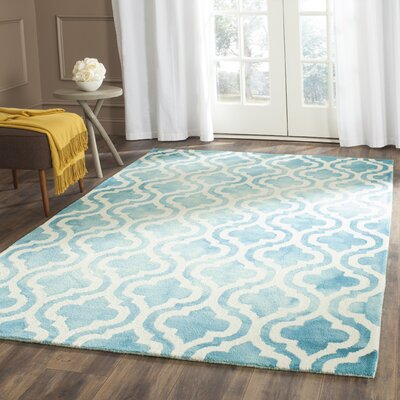 Euphemia Hand-Tufted Turquoise/Ivory Area Rug Rug Size: Rectangle 6 x 9