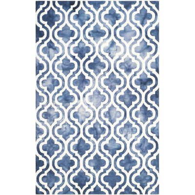 One-of-a-Kind Euphemia Hand-Tufted Wool Navy/Ivory Area Rug Rug Size: Rectangle 6 x 9