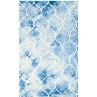 El Segundo Hand-Tufted Blue/Ivory Area Rug Rug Size: Rectangle 4 x 6
