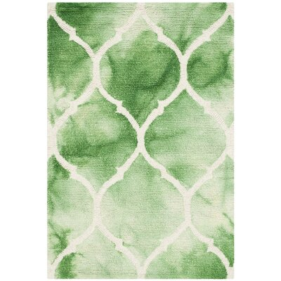 El Segundo Hand-Tufted Green/Ivory Area Rug Rug Size: Rectangle 4 x 6