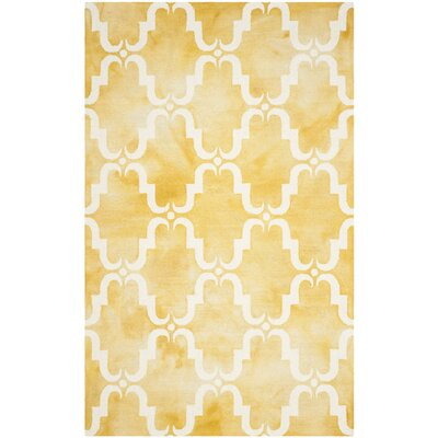 Hand-Tufted Gold/Ivory Area Rug Rug Size: Square 7