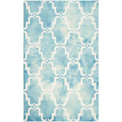 Hand-Tufted Dip Dye Turquoise/Ivory Area Rug Rug Size: Rectangle 7 x 7