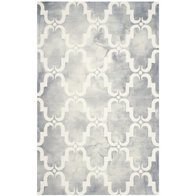 Hand-Tufted Dip Dye Gray/Ivory Area Rug Rug Size: Rectangle 26 x 4