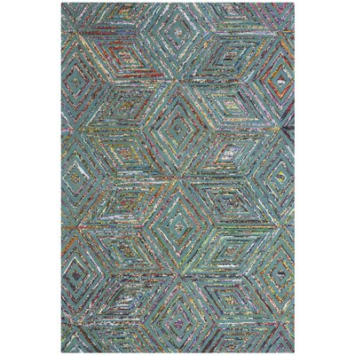 Tufted Cotton Blue Area Rug Rug Size: Round 4