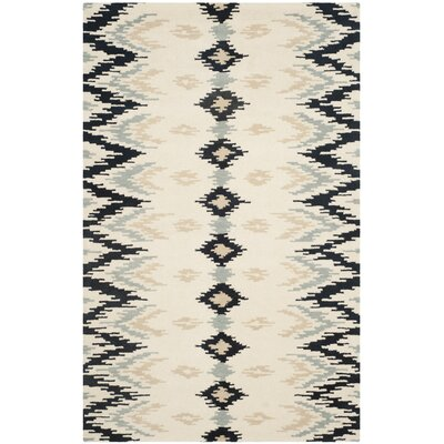Kyoto Hand-Tufted Ivory/Dark Gray Area Rug Rug Size: Runner 26 x 8