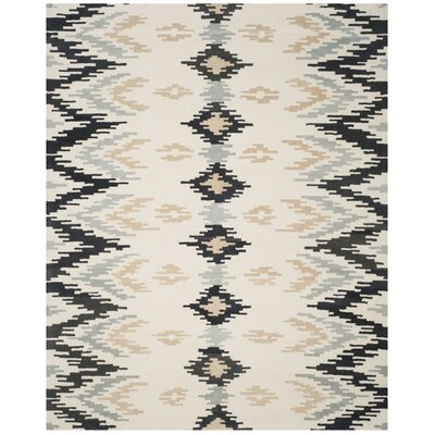 Kyoto Hand-Tufted Ivory/Dark Gray Area Rug Rug Size: Rectangle 76 x 96