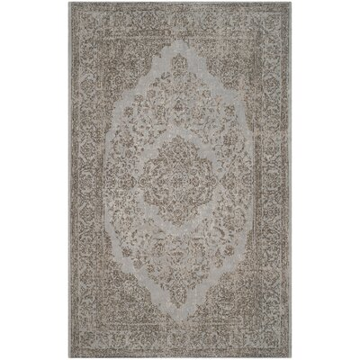 Lasis Cotton Gray Area Rug Rug Size: Round 6