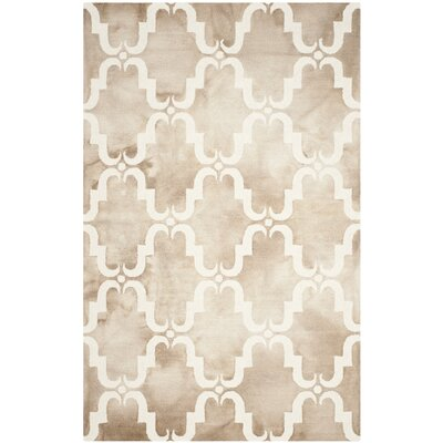 Hand-Tufted Dip Beige/Ivory Area Rug Rug Size: Rectangle 5 x 8