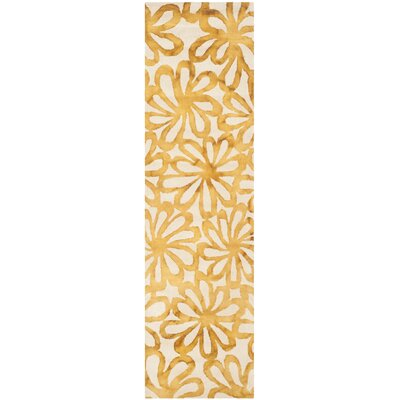 Hand-Tufted Beige & Gold Area Rug Rug Size: Runner 23 x 6