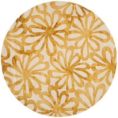 Hand-Tufted Beige & Gold Area Rug Rug Size: Rectangle 6 x 9