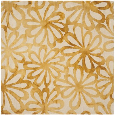 Hand-Tufted Beige & Gold Area Rug Rug Size: Square 5