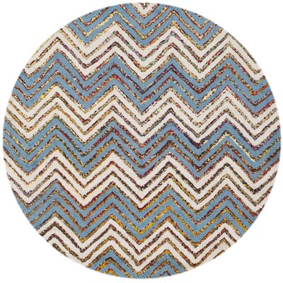 Tufted Cotton Beige/Blue Area Rug Rug Size: Round 4