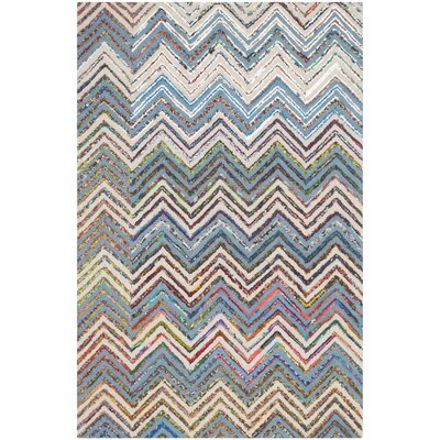 Tufted Cotton Beige/Blue Area Rug Rug Size: Rectangle 4 x 6