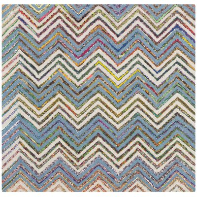 Hand-Tufted Beige/Blue Area Rug Rug Size: Square 4