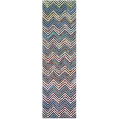 Tufted Cotton Beige/Blue Area Rug Rug Size: Runner 23 x 8