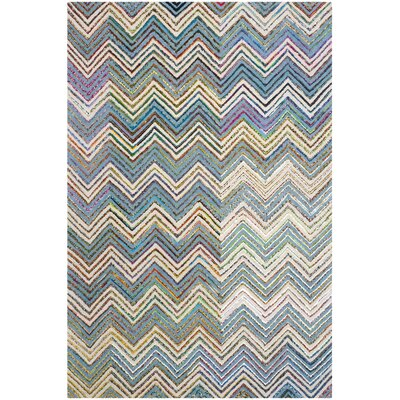 Tufted Cotton Beige/Blue Area Rug Rug Size: Rectangle 6 x 9