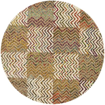 Hand-Tufted Beige/Brown Area Rug Rug Size: Round 4