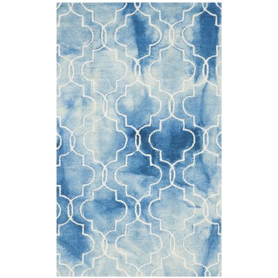 One-of-a-Kind Hand-Tufted Blue/Ivory Area Rug Rug Size: Rectangle 4 x 6