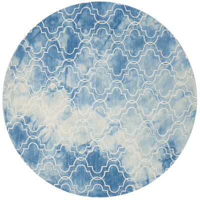 Tufted Cotton Blue Area Rug Rug Size: Round 7