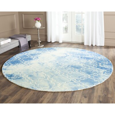 One-of-a-Kind Hand-Tufted Blue/Ivory Area Rug Rug Size: Round 7