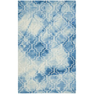 Hand-Tufted Blue/Ivory Area Rug Rug Size: 5 x 8