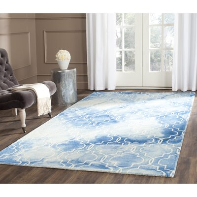 One-of-a-Kind Hand-Tufted Blue/Ivory Area Rug Rug Size: Rectangle 5 x 8