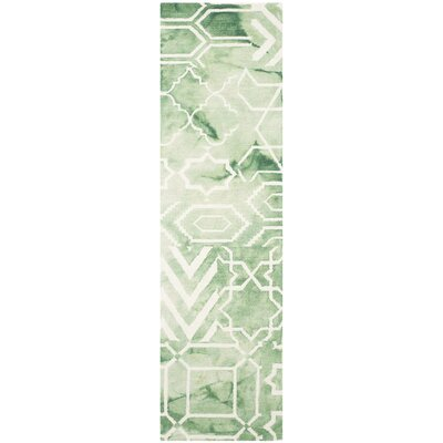 Landry Hand-Tufted Green/Ivory Area Rug Rug Size: Runner 23 x 8