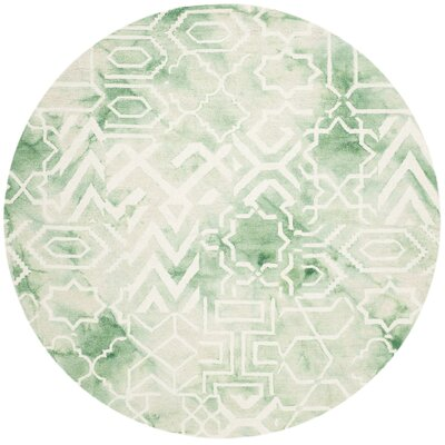 Landry Hand-Tufted Green/Ivory Area Rug Rug Size: Rectangle 9 x 12
