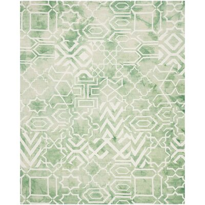 Landry Hand-Tufted Green/Ivory Area Rug Rug Size: 8 x 10
