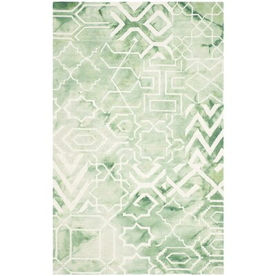 Hand-Tufted Green/Ivory Area Rug Rug Size: Round 5