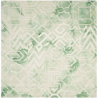 Landry Hand-Tufted Green/Ivory Area Rug Rug Size: Square 5