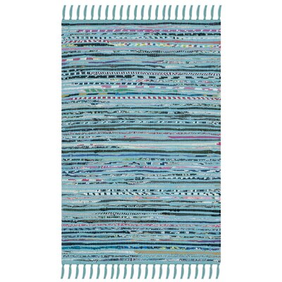 Nerys Hand-Woven Cotton Turquoise Area Rug Rug Size: Rectangle 23 x 39