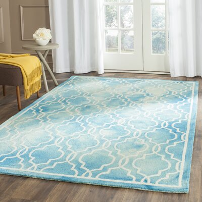 Langdon Hand-Tufted Turquoise/Ivory Area Rug Rug Size: Rectangle 6 x 9