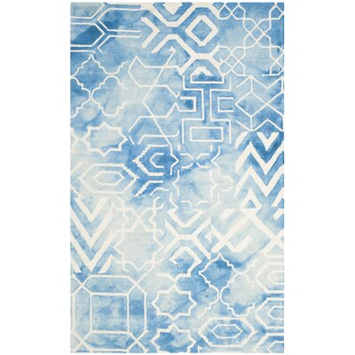 Dip Dye Hand-Tufted Blue/Ivory Area Rug Rug Size: Round 7