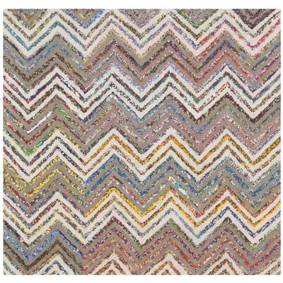 Hand-Tufted Beige/Gray Area Rug Rug Size: Square 4