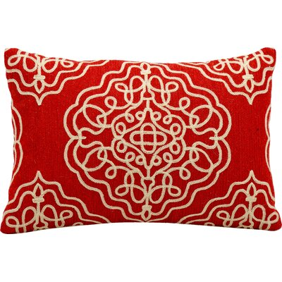 Shabazz Wool Outdoor Wool Lumbar Pillow Color: Vermillion