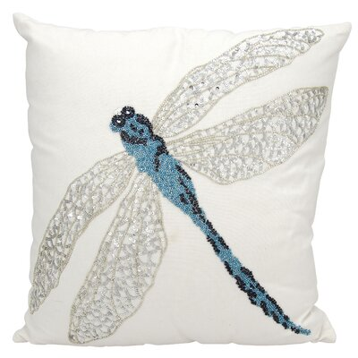 Telford Beaded Dragonfly Indoor/Outdoor Throw Pillow Color: Blue/White