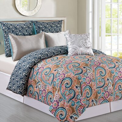 Briget 6 Piece Reversible Comforter Set Size: Queen, Color: Indigo