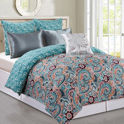 Briget 6 Piece Reversible Comforter Set Size: Queen, Color: Teal