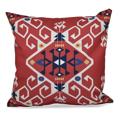 Oliver Jodhpur Medallion Geometric Outdoor Throw Pillow Size: 18 H x 18 W, Color: Coral