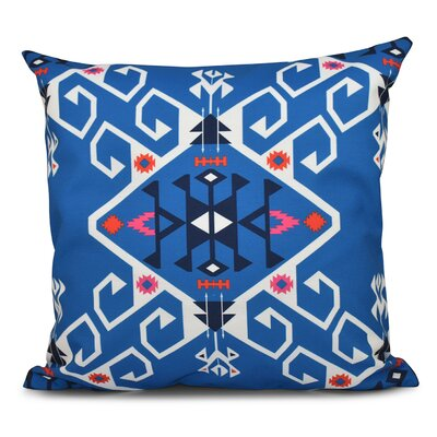 Oliver Jodhpur Medallion Geometric Outdoor Throw Pillow Size: 18 H x 18 W, Color: Blue