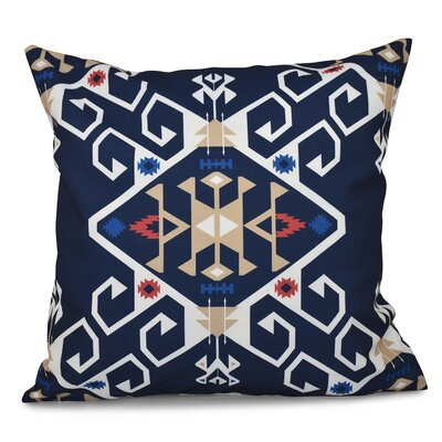Oliver Jodhpur Medallion Geometric Outdoor Throw Pillow Size: 18 H x 18 W, Color: Navy Blue