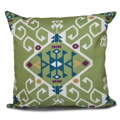 Oliver Jodhpur Medallion Geometric Outdoor Throw Pillow Size: 18 H x 18 W, Color: Green