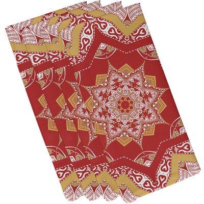 Oliver Shawl Geometric Print Napkin Color: Coral
