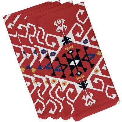 Oliver Jodhpur Medallion Geometric Print Napkin Color: Coral