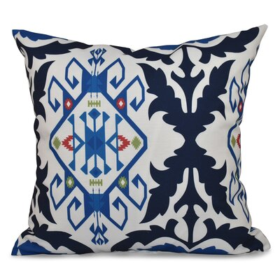 Oliver Bombay Medallion Geometric Outdoor Throw Pillow Size: 18 H x 18 W, Color: Navy Blue