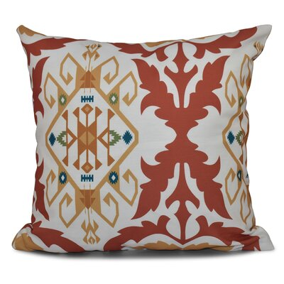 Oliver Bombay Medallion Geometric Outdoor Throw Pillow Size: 18 H x 18 W, Color: Coral