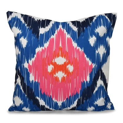Eudora Original Outdoor Throw Pillow Size: 18 H x 18 W, Color: Coral/Blue