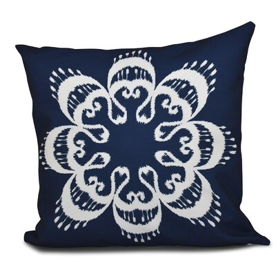 Oliver Ikat Mandala Geometric Outdoor Throw Pillow Size: 18 H x 18 W, Color: Navy Blue
