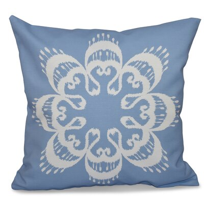 Oliver Ikat Mandala Geometric Outdoor Throw Pillow Size: 18 H x 18 W, Color: Blue